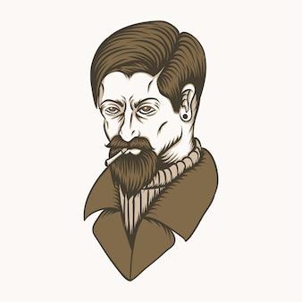 Illustration vectorielle homme fumée