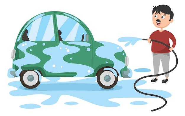Illustration vectorielle de l'homme de lavage de voiture