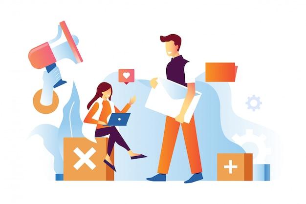 Illustration vectorielle de l'homme qui apporte une enveloppe aux femmes son bon pour le marketing par courriel