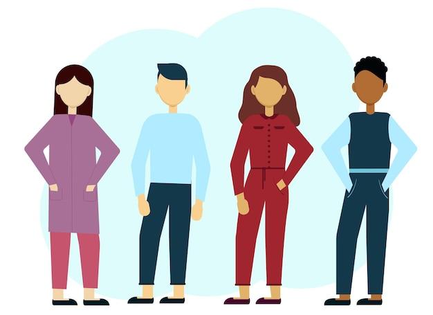 Illustration vectorielle d'hommes et de femmes élégants multiethniques. la communication
