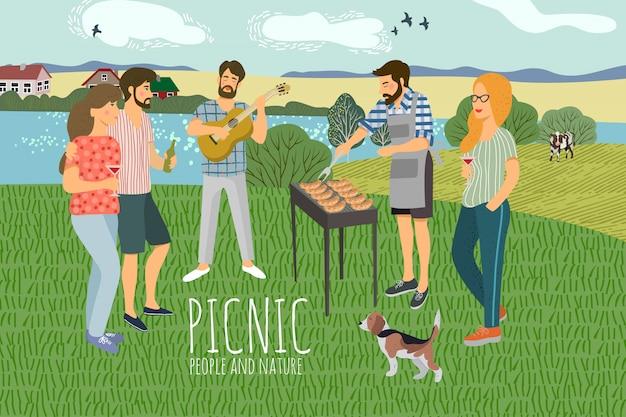 Illustration vectorielle des hommes et des femmes reposant sur la nature dans le contexte du paysage rural