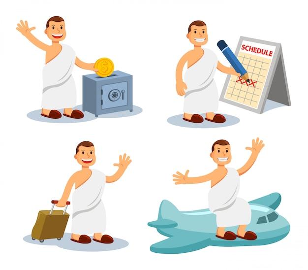 Illustration vectorielle des hommes se préparant pour le pèlerin