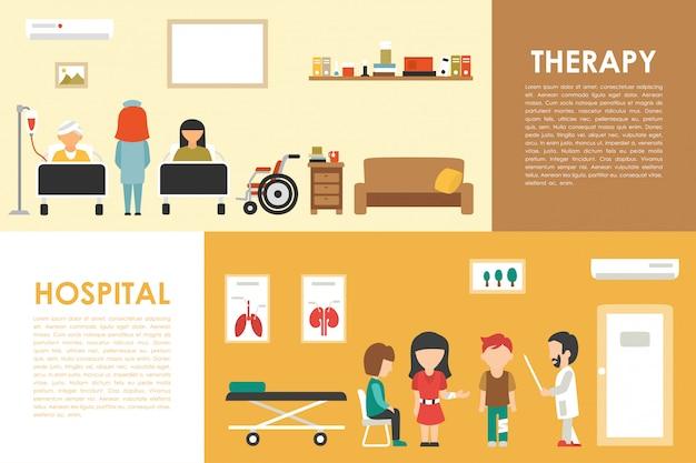 Illustration vectorielle de hôpital thérapie plat hôpital médical concept intérieur web. docteur, p
