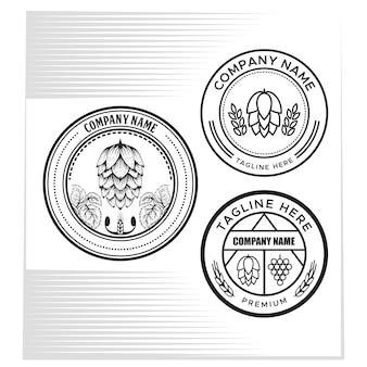 Illustration vectorielle de houblon fruits et raisin badge