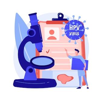 Illustration vectorielle de hpv test concept abstrait. kit de test du papillomavirus humain, résultats, tests pour l'homme, examen pour les femmes, prévention du cancer du col de l'utérus, métaphore abstraite du diagnostic précoce du vph.