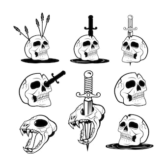 Illustration vectorielle d'humains effrayants et de crânes d'animaux avec des couteaux et des flèches