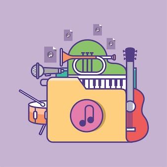 Illustration vectorielle de l'icône de dossier de musique numérique collection de fichiers musicaux
