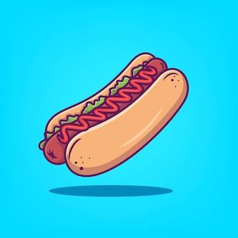 Illustration vectorielle d'icône de hot-dog dessinés à la main