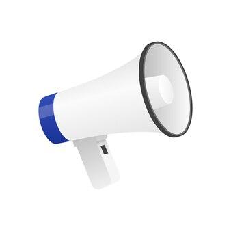Illustration vectorielle de l'icône mégaphone détaillée cool isolé sur fond blanc.