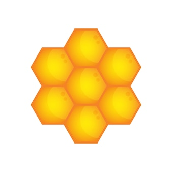 Illustration vectorielle de l'icône en nid d'abeille symbole de signe hexagonal or de cire d'abeille sur fond blanc
