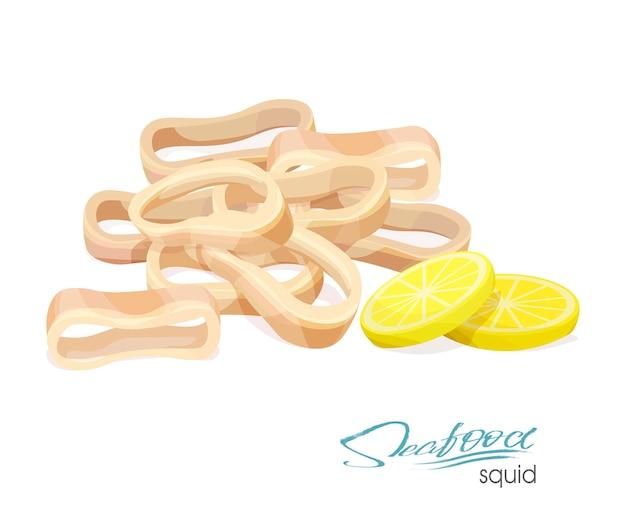 Illustration vectorielle. illustration d'un plat de calamars au citron. anneaux de calamars cuits.