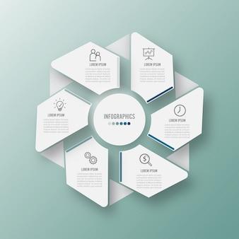 Illustration vectorielle infographie 6 options.