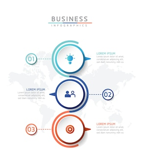 Illustration vectorielle infographie modèle de conception graphique de présentation des informations commerciales avec 3 o