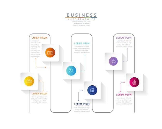 Illustration vectorielle infographie modèle de conception graphique de présentation des informations commerciales 6 étapes
