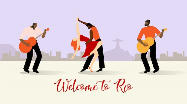 Illustration vectorielle inscription bienvenue à rio.
