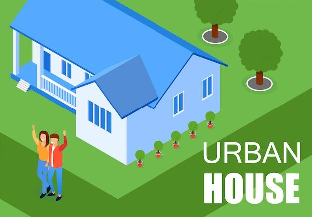 Illustration vectorielle inscription maison urbaine plate.