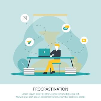 Illustration vectorielle d'inscription procrastination.