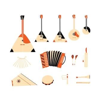 Illustration vectorielle d'instruments d'orchestre folklorique sur fond blanc. accordéon, cor, balalaïka, cuillères, tambourin.