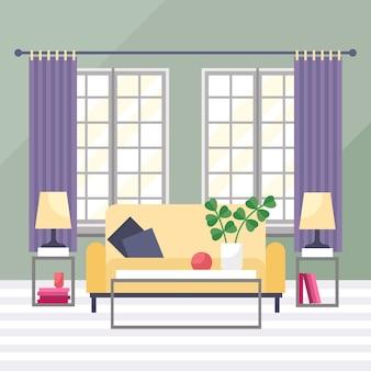 Illustration vectorielle intérieur de salon