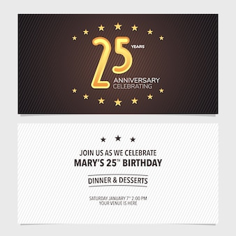 Illustration vectorielle d'invitation anniversaire 25 ans. élément de modèle de conception avec un fond abstrait pour la carte du 25e anniversaire, invitation à une fête