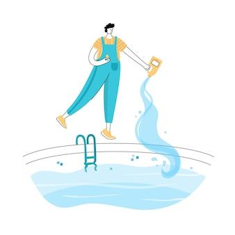 Illustration vectorielle isolée de l'homme choque et algicide l'eau de la piscine avec des produits chimiques.