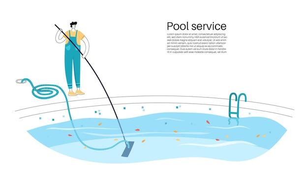 Illustration vectorielle isolée de l'homme nettoyant le sol de la piscine avec un aspirateur télescopique