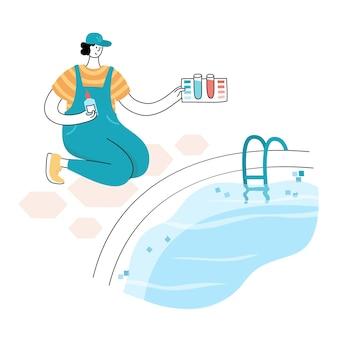 Illustration vectorielle isolée de l'homme vérifiant et équilibrant les niveaux de ph de la piscine