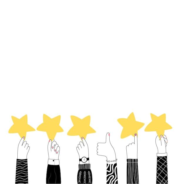 Illustration vectorielle isolée des mains tenant des étoiles. 5 étoiles de rang d'or. expérience utilisateur
