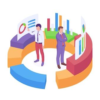 Illustration vectorielle isométrique d'analyse commerciale avec deux hommes d'affaires debout à l'intérieur de la grande tarte