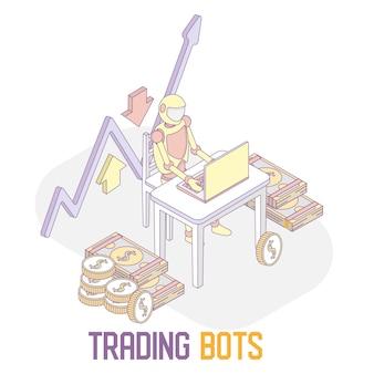 Illustration vectorielle isométrique de bots trading concept