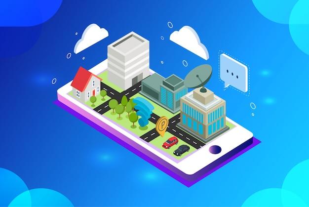 Illustration vectorielle isométrique de la construction de la ville intelligente