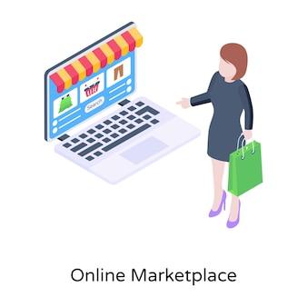 Illustration vectorielle isométrique du marché en ligne eshop
