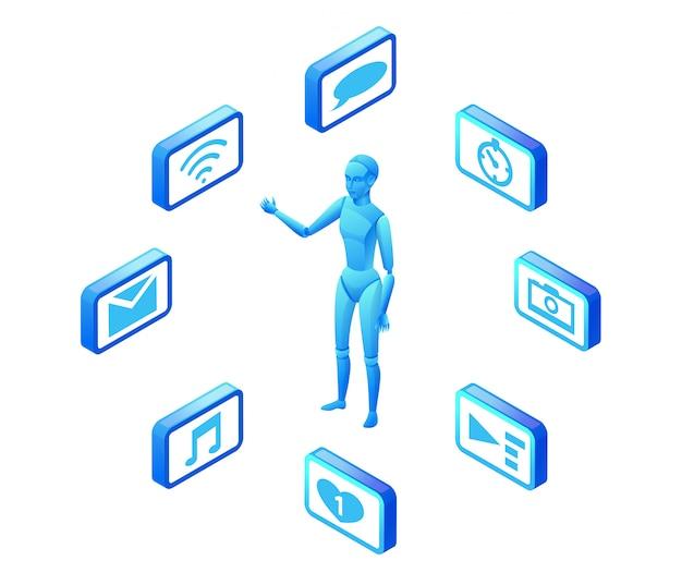 Illustration vectorielle isométrique du service chatbot