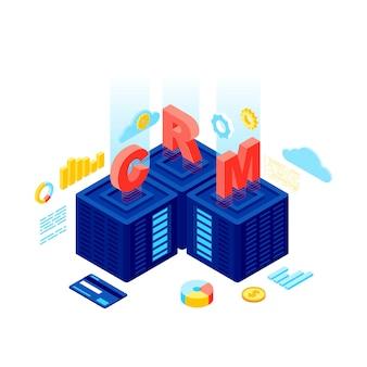 Illustration vectorielle isométrique du système crm