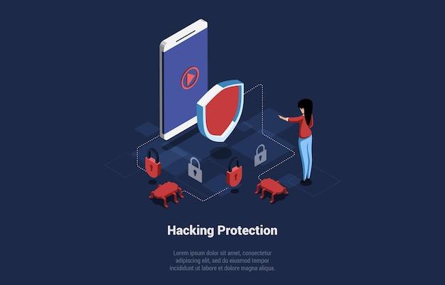 Illustration vectorielle isométrique avec l'écriture. composition conceptuelle dans le style 3d de dessin animé. protection contre le piratage, cyber shield contre les virus internet, trojan danger. programme en ligne, sécurité logicielle.