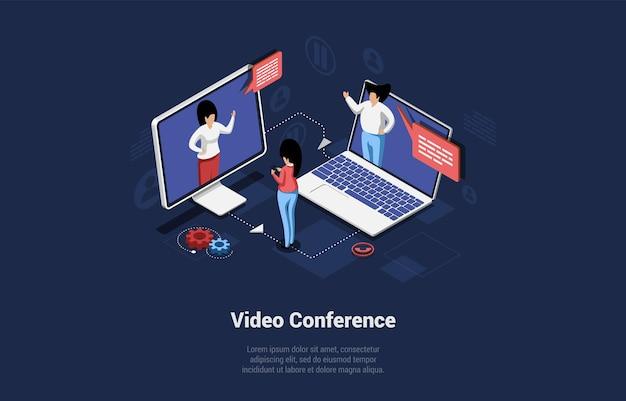 Illustration vectorielle isométrique avec l'écriture. composition conceptuelle dans le style 3d de dessin animé. vidéoconférence, discussion en ligne, communication commerciale à distance ou éducative. personnages parlant sur appel.