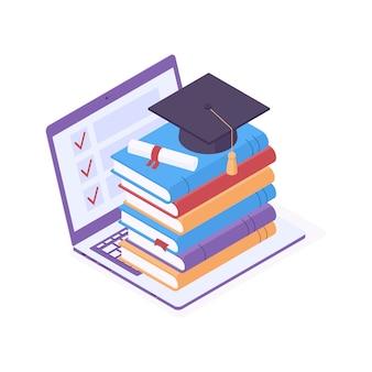 Illustration vectorielle isométrique de l'éducation en ligne.