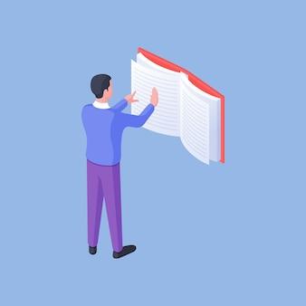 Illustration vectorielle isométrique d'étudiant masculin contemporain retournant des pages de livre intéressant et de lecture tout en étudiant sur fond bleu clair