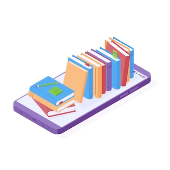 Illustration vectorielle isométrique de lecture ou d'éducation en ligne