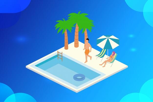Illustration vectorielle isométrique de loisirs en piscine