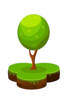 Illustration vectorielle isométrique d'un morceau de terre et d'un arbre vert. dessin animé infographie sol et arbre dans un style simple.