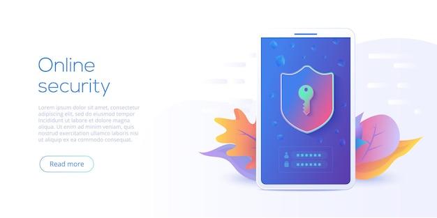 Illustration vectorielle isométrique de sécurité des données mobiles