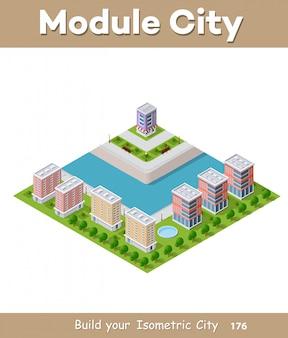Illustration vectorielle isométrique d'une ville moderne