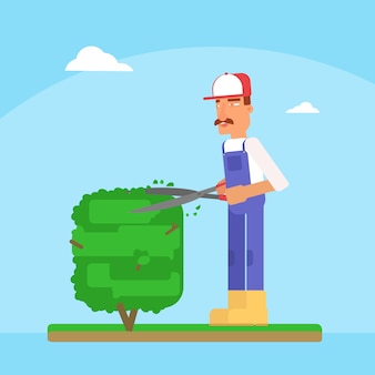 Illustration vectorielle de jardinier coupe arbre dessin animé