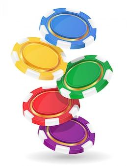 Illustration vectorielle de jetons de casino colorés