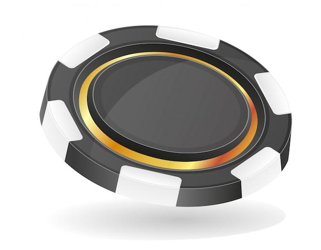 Illustration vectorielle de jetons de casino noir