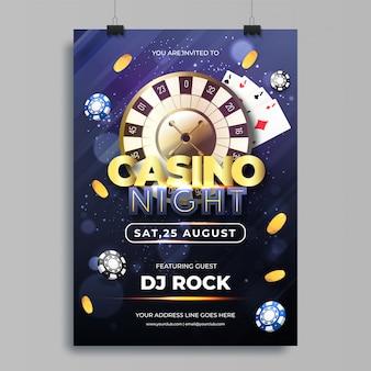 Illustration vectorielle de jetons, pièces de monnaie, cartes à jouer et roulette