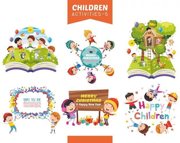 Illustration vectorielle de jeu d'activités pour enfants