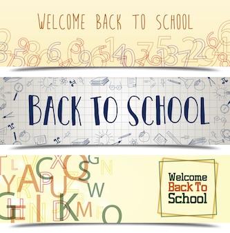 Illustration vectorielle de jeu de bannière retour à l'école