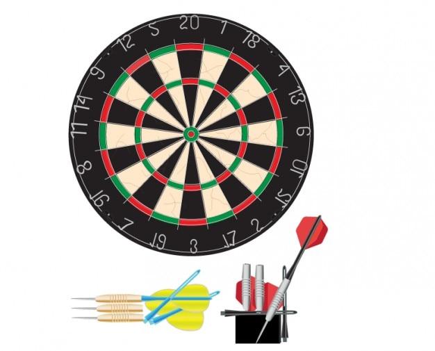 Illustration vectorielle jeu de fléchettes
